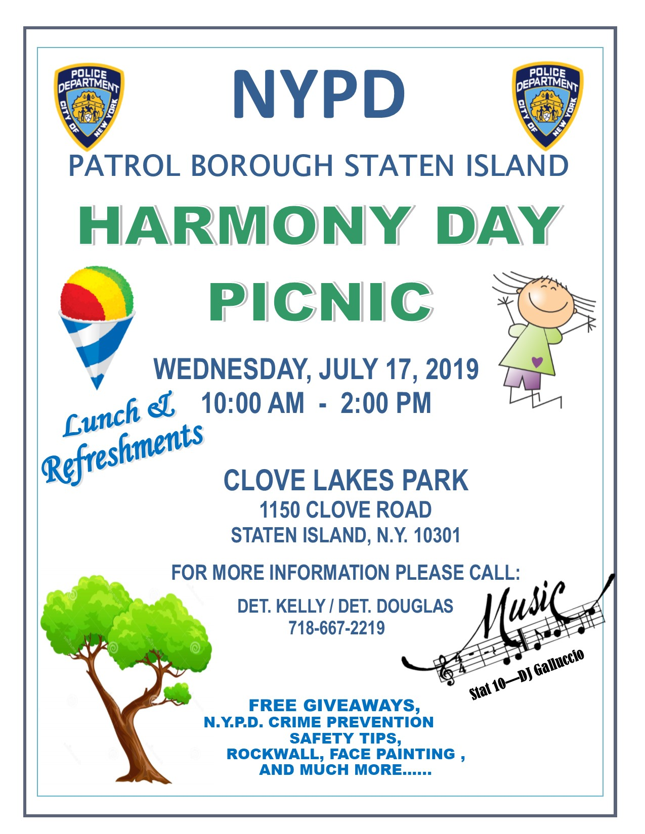 NYPD Harmony Day Picnic at Clove Lakes Park July 17th – Community